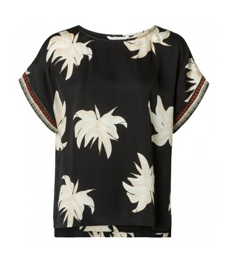 Yaya WOVEN TOP FADED FLOWER PRINT BLACK DESSIN 1901145-915