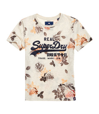 Superdry V logo photo rose entry tee off white G10322SU