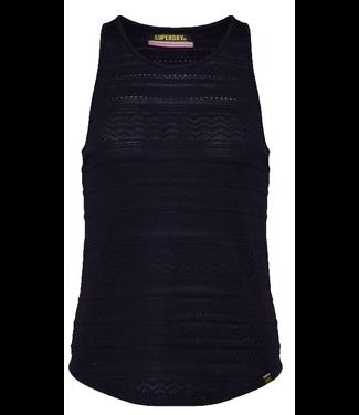 Superdry Leya textured vest zwart G60802SU