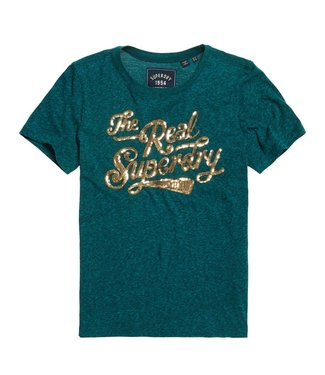 Superdry The real glitter entry tee blauw G10314TU