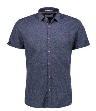 No Excess Shirt, s/sl, allover printed, stret Indigo Blue 90460303