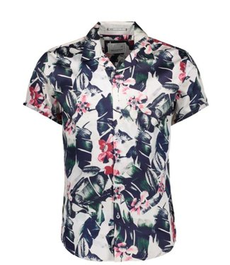 No Excess Shirt, s/sl, ao flower printed popl old pink 90420402