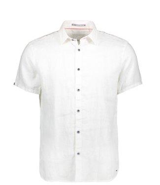 No Excess Shirt, s/sl, linen, garm.dyed white 90420408