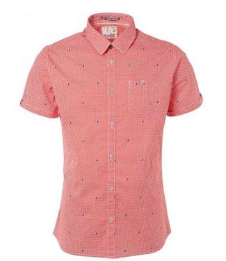 No Excess Shirt, s/sl, all over print, stretc red 91490506