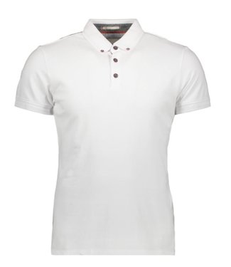 No Excess Polo, S/Sl, bttn down, pique stretc white 90370201