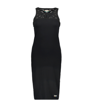 Superdry Jessie macrame midi dress zwart G80207RU