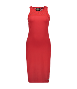 Superdry Jessie macrame midi dress rood G80207RU
