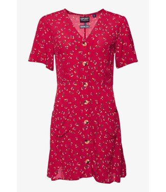 Superdry Darcy button trough dress rood G80302TU