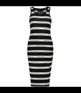 Superdry Mila stripe midi dress zwart G80113MT