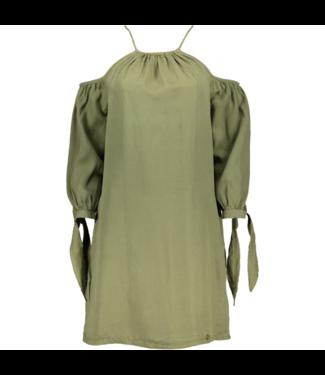 Superdry Eden cold shoulder dress groen G80102JT