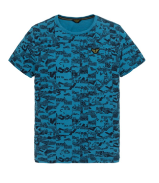 PME Legend Short sleeve r-neck Slub Jersey AO Mykonos Blue PTSS194537