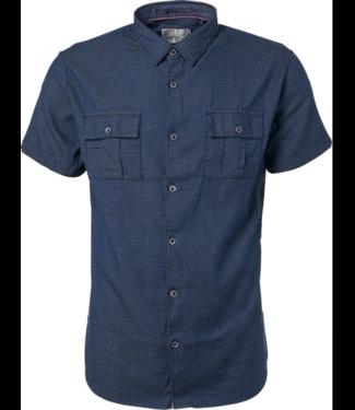 No Excess Shirt, s/sl, indigo dobby, stretch, indigo 91440501