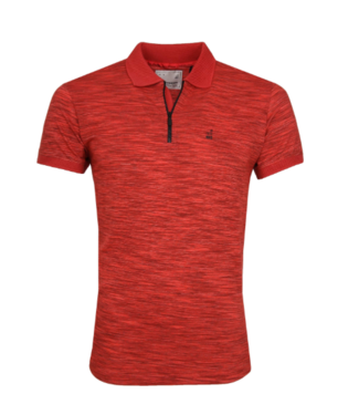 No Excess Polo, S/Sl, half zip, grindle yarn red 91380550