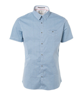 No Excess Shirt, s/sl, all over cube print, s Shadow Blue 91490507