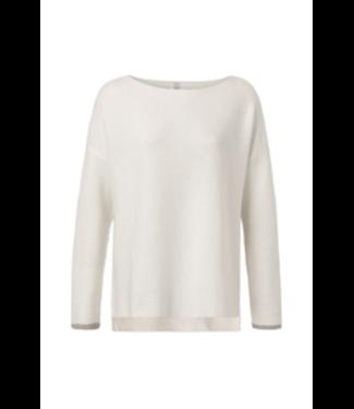Yaya Sweater with ribbed sleeves wool white100030-921