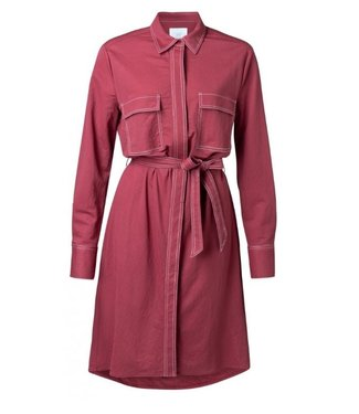 Yaya Shirt dress with contrast BURGUNDY RED 1809128-921