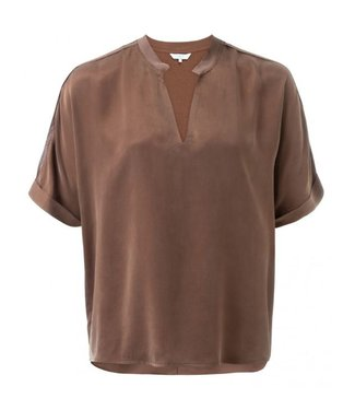 Yaya Cupro blend V-neck T-shirt CHOCOLATE 190119-921