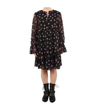 NA-KD Floral print ruffled dress zwart 1018-002402