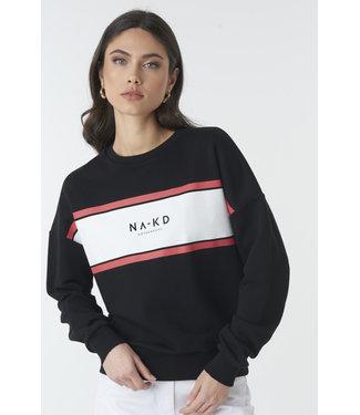NA-KD Logo sweatshirt zwart 1018-002390