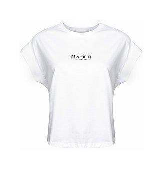NA-KD Logo cropped boxy t-shirt wit 1018-002392
