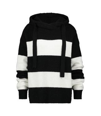 PENN&INK N.Y Hoodie stripe zwart w19L097