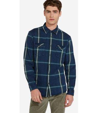 Wrangler Longsleeve western shirt blauw W5A7MTG01