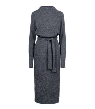 Zusss Lange gebreide jurk grijs 03GJ19n