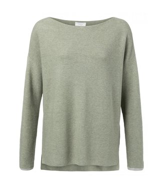 Yaya Sweater with ribbed sleeves utility green 100030-923