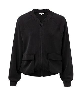 Yaya Cropped bomber jacket black 151919-923