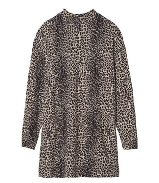 10Days Turtle neck linen dress leopard off white 20-346-9103
