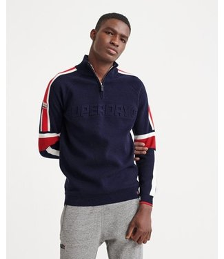 Superdry Downhill embossed henley donkerblauw M6100007A