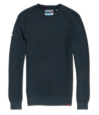 Superdry Garment dyed l.a textured crew donkerblauw M6100018A