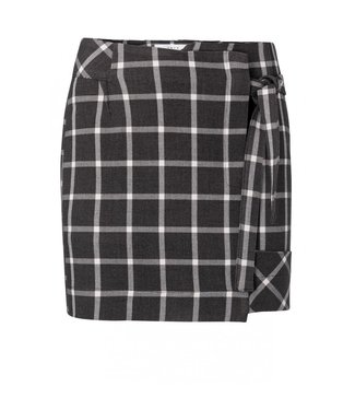Yaya Mini skirt with checked print ANTRACITE MELANGE 140156-924