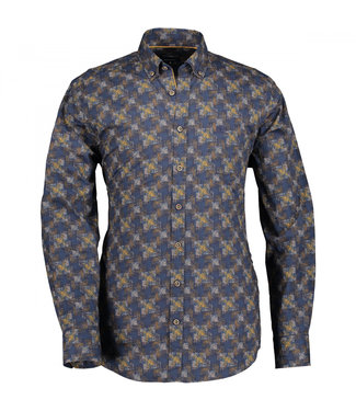 State of Art Shirt Printed Poplin donkerbruin 214-29157-8923
