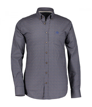State of Art Shirt Printed Poplin donkerbruin 214-29115-8923