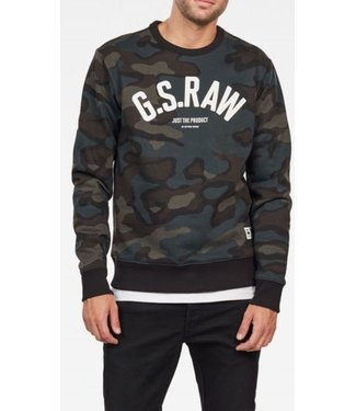 G-Star Graphic 12 slim crew sweater groen D15675-C022-B123