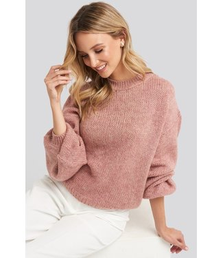 NA-KD Crew neck  knitted sweater roze 1018-003193