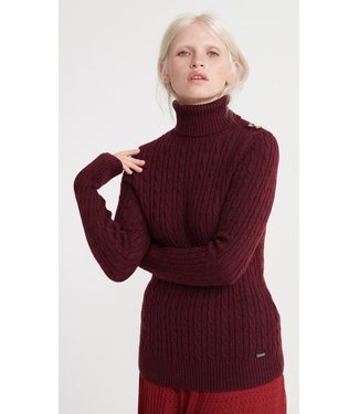 Superdry Croyde cable knit roll neck burgundy marl W6100008A