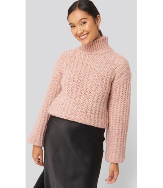 NA-KD High neck heavy knitted sweater roze 1100-002046
