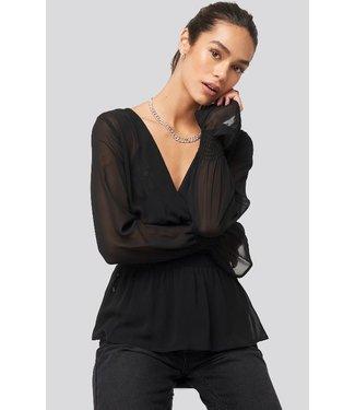 NA-KD Smocked sleeve blouse zwart 1018-003531