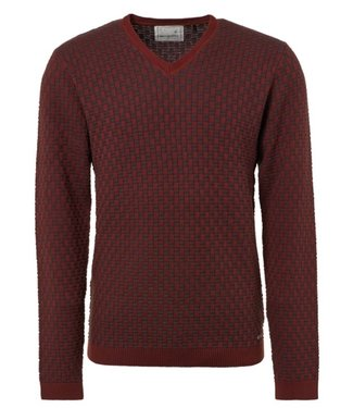 No Excess Pullover, V-Neck, Plated Jacquard  Brick 92230924