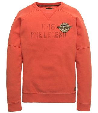 PME Legend Crewneck Washed terry Aurora Red PSW198446