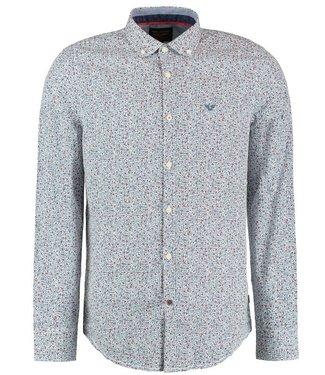 PME Legend Long Sleeve Shirt Poplin Print Bright White PSI198202