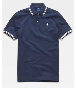 G-Star Dunda slim stripe polo donkerblauw D13325-5864-6377