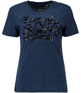 Superdry The real sequin entry tee blauw W1000030B