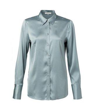 Yaya Satin shirt with cuffs SEA BLUE 110105-011