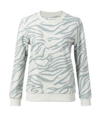 Yaya Round neck sweatshirt SEAGULL GREY DESSIN 1009280-011