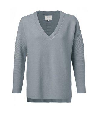 Yaya Cotton mix ribbed sweater SEA BLUE 1000271-011