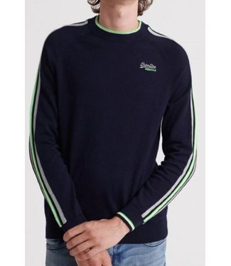 Superdry Athletic stripe crew donkerblauw M6100003A