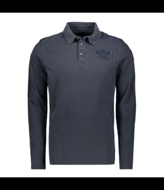 PME Legend Long sleeve polo Rugged pique Dark Sapphire PPS201851